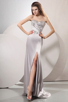 Luxury Jeweled Sweetheart Sheath Silver Slit Evening Dress Under 200