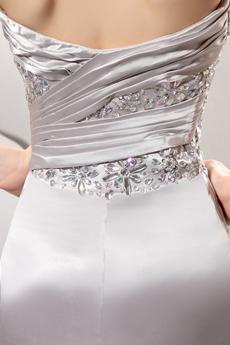 Luxury Jeweled Sweetheart Sheath Silver Slit Evening Dress Under 200