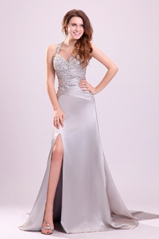 Trendy Crossed Straps A-line Floor Length Silver Wedding Gown Side Slit