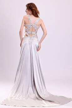 Exquisite Double Straps A-line Floor Length Silver Wedding Dress Crossed Straps Back