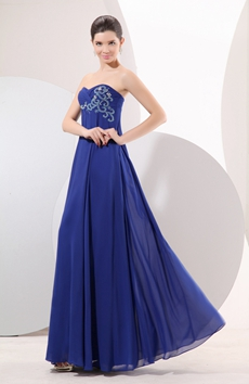 Attractive Shallow Sweetheart Empire Royal Blue Chiffon Prom Dress For Pregnancy Women