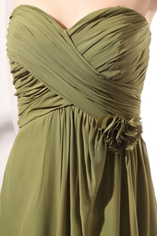 Pretty Olive Green Long Chiffon Formal Evening Gown