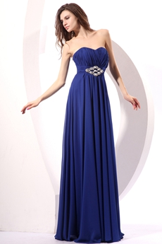 Classy A-line Chiffon Long Length Royal Blue Engagement Evening Dress