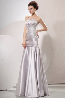 Noble Single Straps Sheath Full Length Silver Prom Dress