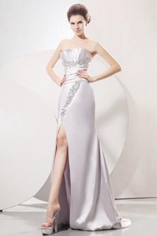 Glamour Strapless Neckline Sheath Full Length Silver Satin Evening Dress Side Slit