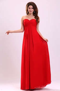 Stunning Empire Floor Length Red Chiffon Plus Size Junior Prom Dress