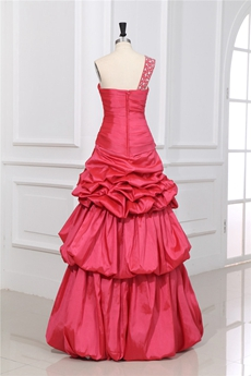 Inexpensive One Shoulder Taffeta Watermelon Colored Princess Sweet 15 Dress