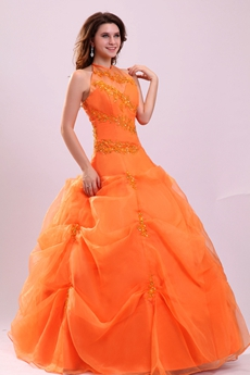 Romantic Orange Halter Corset Sweet 15 Ball Gown Quinceanera Dress
