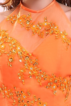 Romantic Orange Halter Corset Sweet 15 Ball Gown Quinceanera Dress