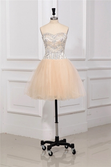 Romantic Champagne Sweetheart Short Sweet 16 Dresses