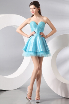 Terrific Sweetheart Puffy Mini Length Blue Homecoming Dress With Great Handwork