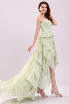 Sweetheart A-line Sage Colored Chiffon High Low Sweet Sixteen Dress