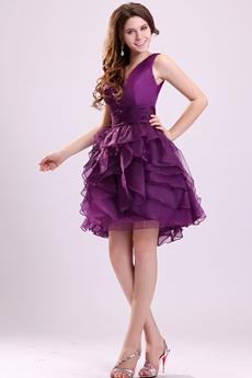 V-Neckline Puffy Mini Length Purple Organza Sweet Sixteen Dress