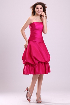 Pretty Fuchsia Taffeta Knee Length Damas Dress