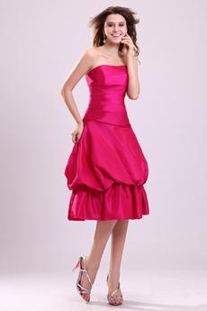 Pretty Fuchsia Taffeta Knee Length Damas Dress