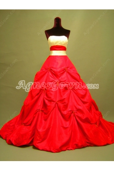 Unique Red and White Ball Gown Wedding Dress