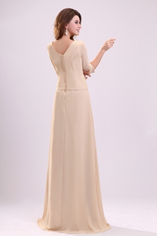 Stunning 3/4 Sleeves V-Neckline Champagne Chiffon Mother Dress