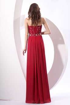 Chic Strapless Neckline A-line Full Length Burgundy Engagement Dress With Beads