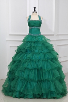 Vintage Top Halter Full Length Dark Green Ruffled Quinceanera Dress
