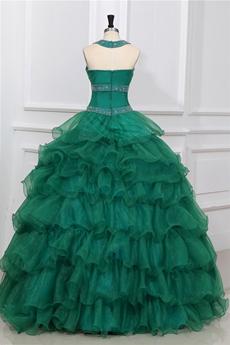 Vintage Top Halter Full Length Dark Green Ruffled Quinceanera Dress
