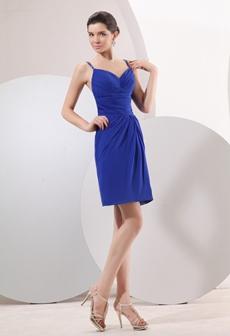Modern Open Back Mini Length Royal Blue Chiffon Cocktail Dress