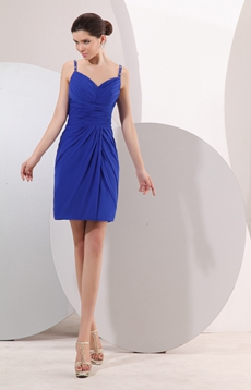 Modern Open Back Mini Length Royal Blue Chiffon Cocktail Dress
