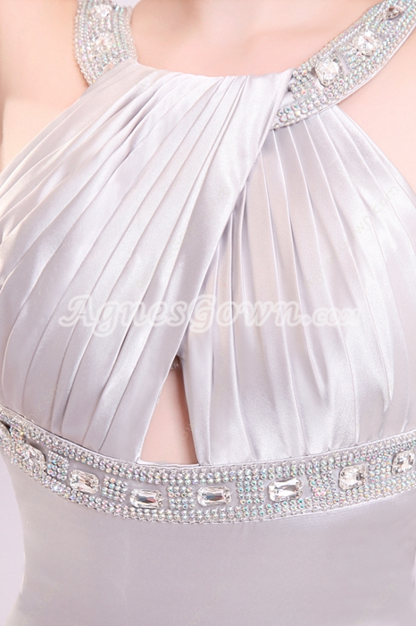 Jewel Neckline A-line Full Length Silver Satin Backless Wedding Dress
