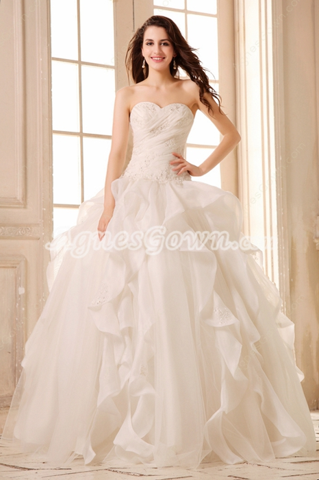 Sweetheart Drop Waist Ball Gown Wedding Dress 2016