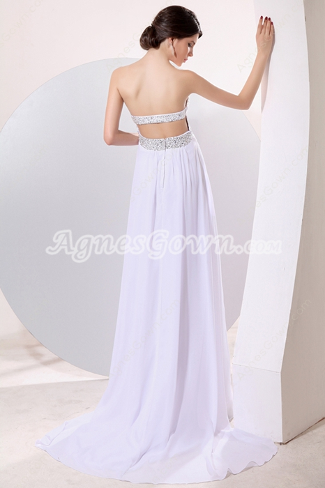 Dipped Neckline White Chiffon Casual Beach Wedding Dress