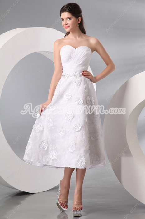Sophisticated Sweetheart Floral Beach Weding Dress Tea Length