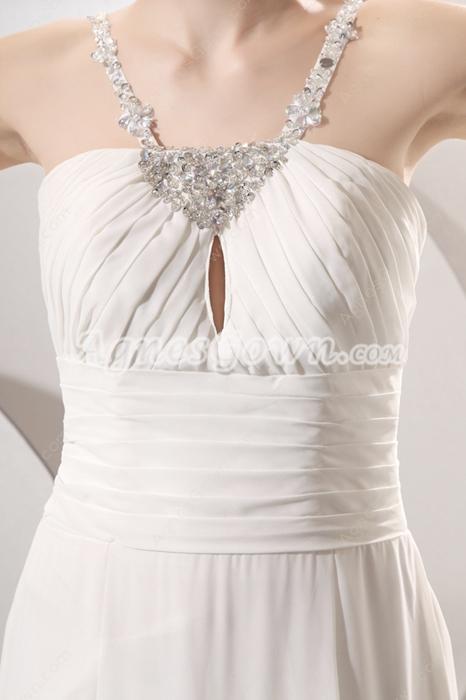 Romantic Double Straps A-line Chiffon Summer Beach Wedding Dress