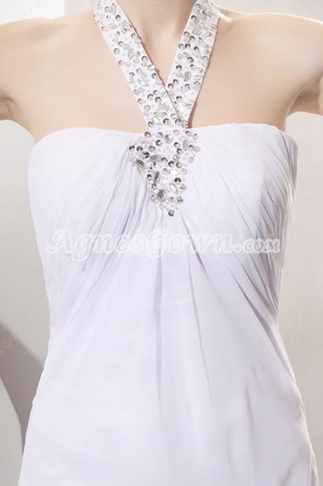 Flowing Halter Neckline Column Chiffon Summer Beach Wedding Gown