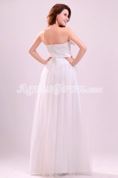 Exquisite Strapless A-line Floor Length White Tulle Prom Gown For Juniors