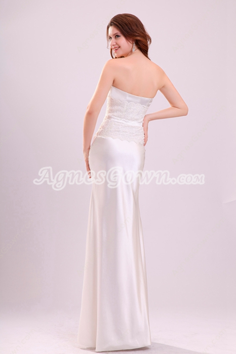 Noble Dipped Neckline Column Beach WEdding Gown