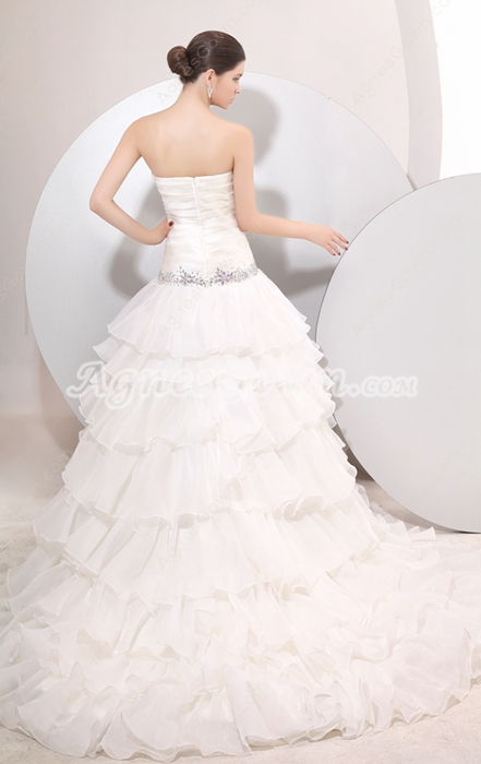 Dazzling Multi Ruffled Wedding Dress Dropped Waist