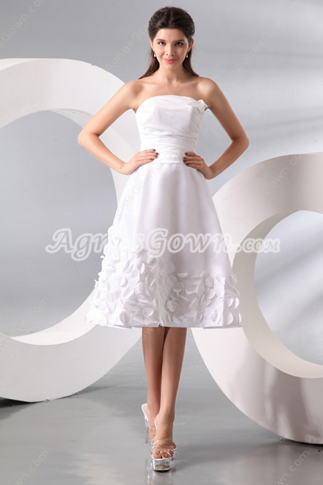 Terrific Strapless Taffeta Summer Beach Bridal Gown With Appliques