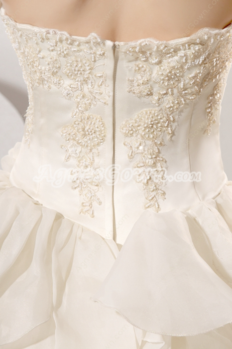 Luxury Strapless Neckline Ball Gown Ivory Bridal Dress With Ruffles