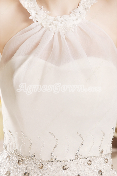 Glamorous Top Halter Ball Gown Full Length Organza Quinceanera Dress With Beads