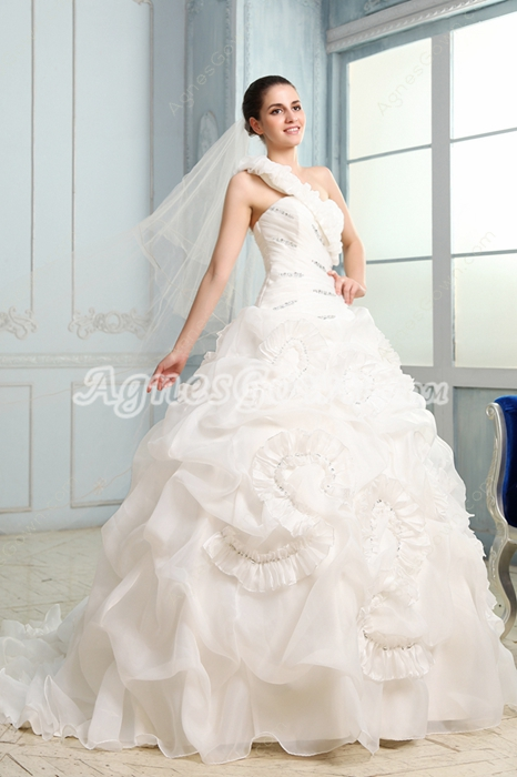 Desirable One Shoulder Ball Gown Organza Floral Wedding Gown
