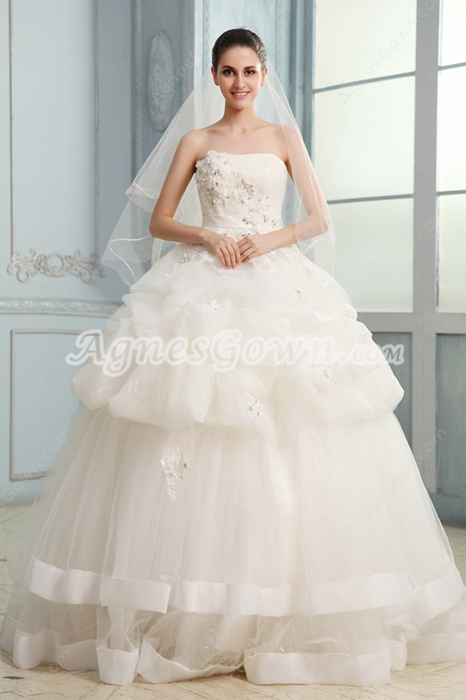 Fairytale Strapless Neckline Ball Gown Floor Length Bridal Gown
