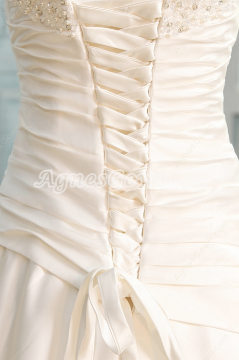 Exclusive Strapless Ball Gown Satin Wedding Dress With Pleated Bodice