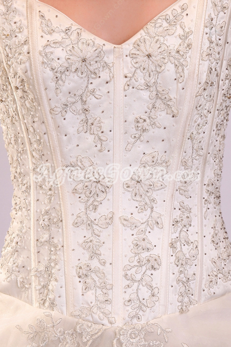 Fairytale V-Neckline Ball Gown Floor Length Wedding Dress With Lace Appliques