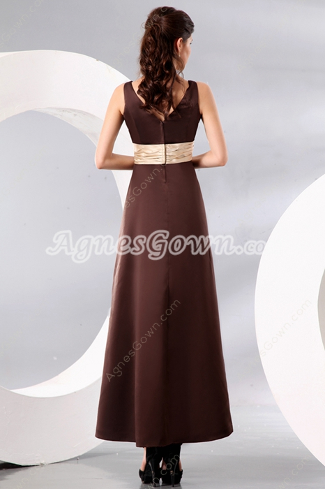 Classy V-Neckline Ankle Length Chocolate Satin Mother Of The Bride Dress