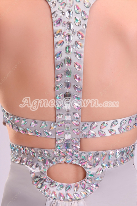 Qualified Double Straps A-line Floor Length Silver Celebrity Wedding Dress