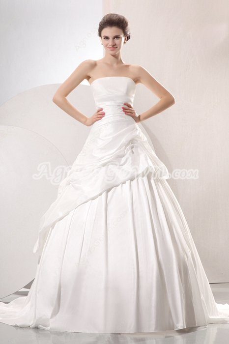 Exclusive Strapless Ball Gown Taffeta Celebrity Wedding Dress Corset Back