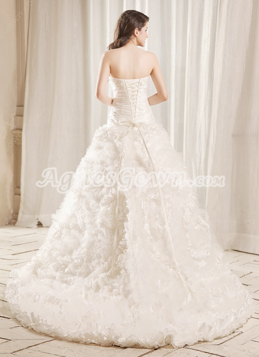 Magnificent Sweetheart A-line White Tulle And Satin Celebrity Wedding Gown