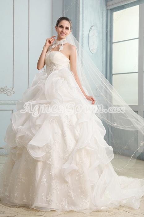 Exquisit Halter Neckline Ball Gown Floor Length Celebrity Wedding Dress 2016