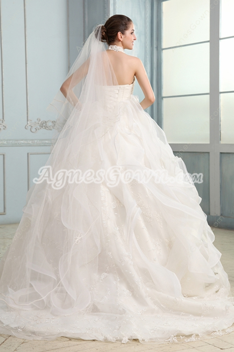 Exquisit Halter Neckline Ball Gown Floor Length Celebrity Wedding Dress 2016
