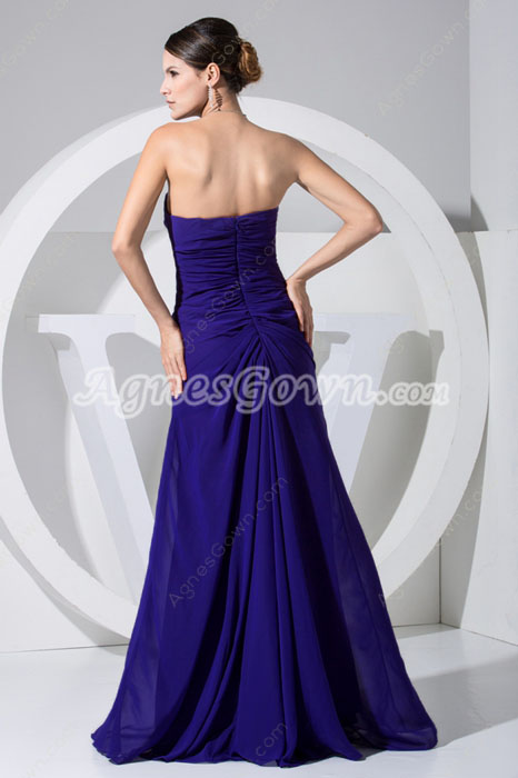 Charming Strapless Chiffon Navy Wedding Guest Dress