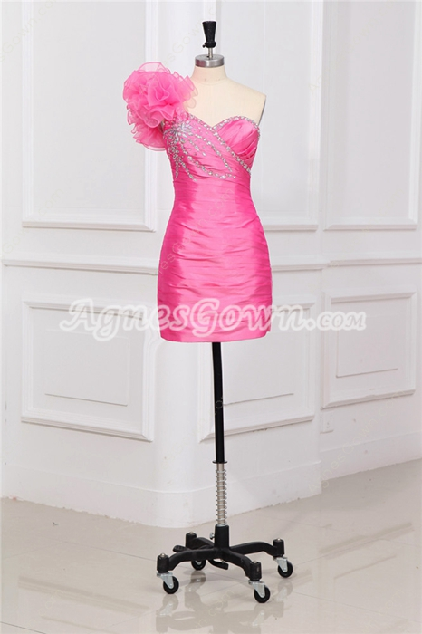 Chic One Shoulder Sheath Mini Length Hot Pink Cocktail Dress